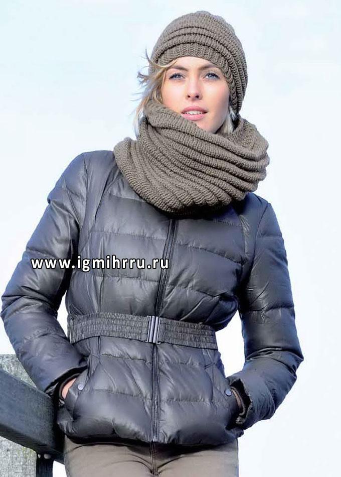 Теплый комплект из мериносовой шерсти: шапочка и шарф-труба. Спицы