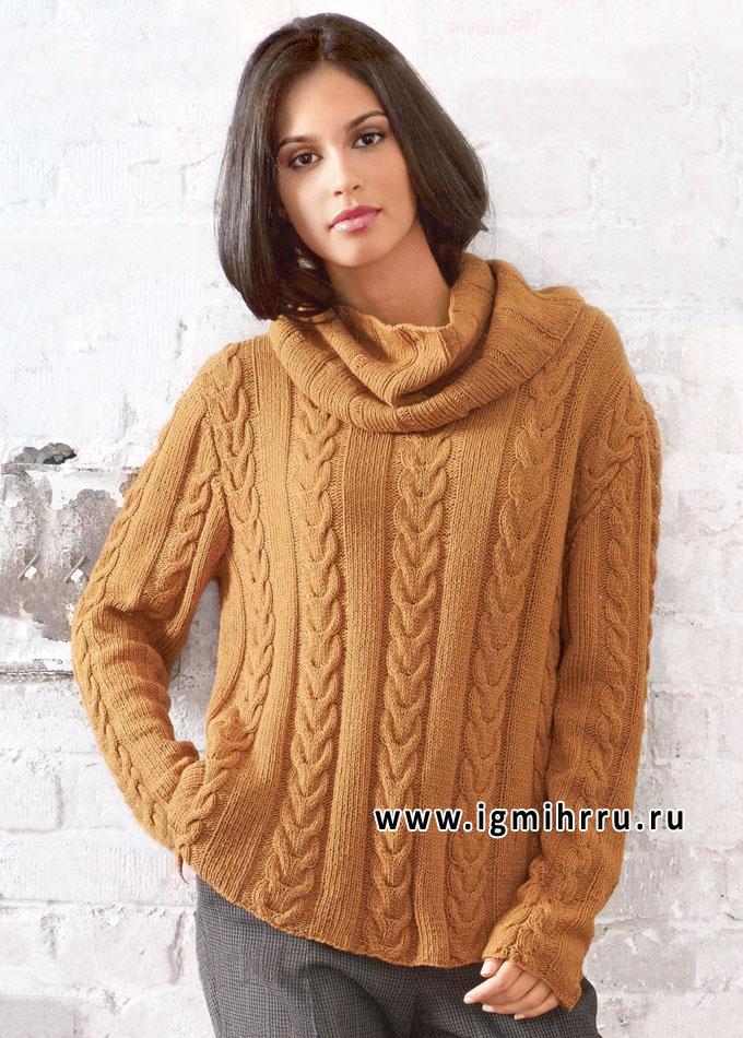 Кашемировый пуловер и воротник-хомут песочного цвета, от Lana Grossa. Спицы