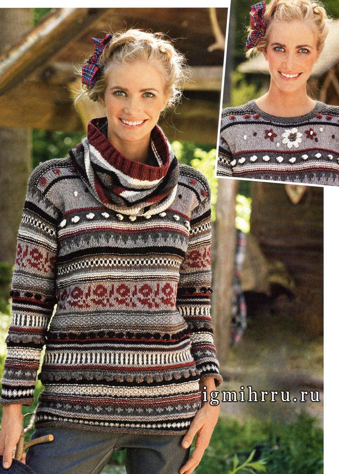 Цветы и жаккардовые узоры. Нарядный пуловер, дополненный полосатым хомутом. Спицы