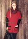 Теплая красно-черная накидка с карманами и жаккардовый снуд. Спицы