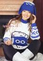 Веселый и нарядный комплект: свитер и шапочка Символ года – овечка. Спицы