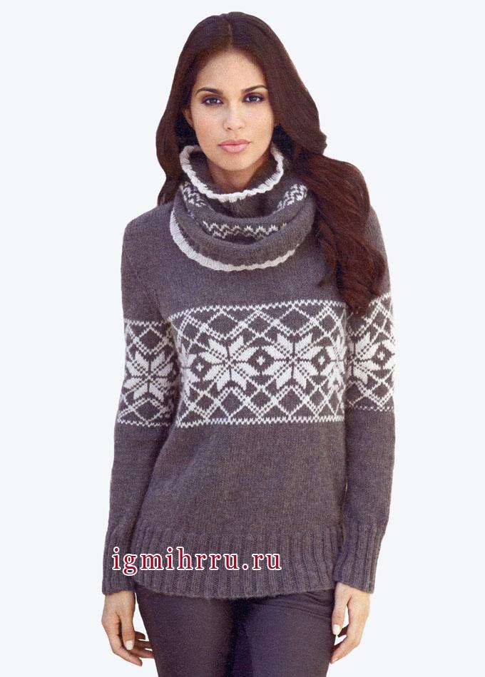 Пуловер и снуд с зимними жаккардовыми узорами. Вязание спицами
