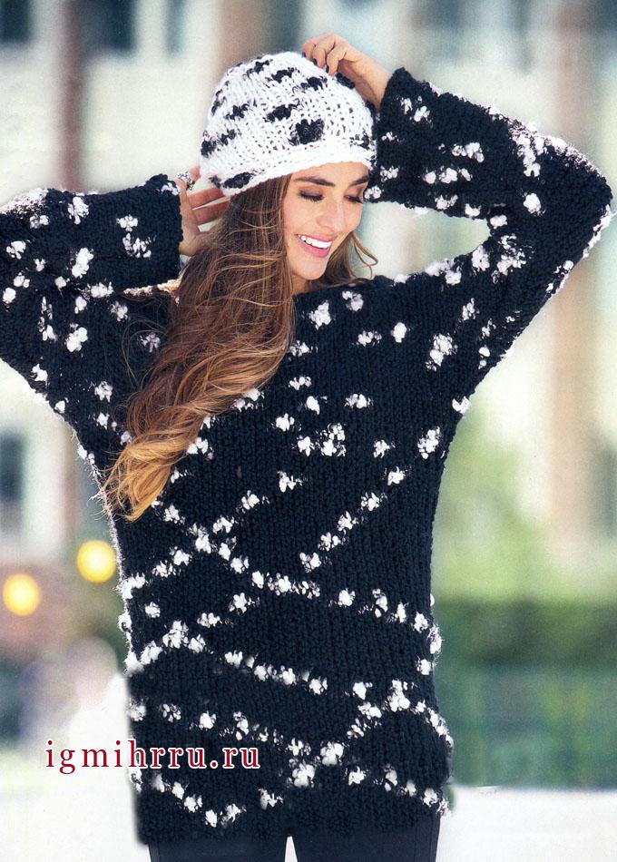 Млечный путь. Черно-белый пуловер и шапочка, от Verena. Вязание спицами
