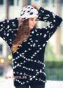 Млечный путь. Черно-белый пуловер и шапочка. Спицы