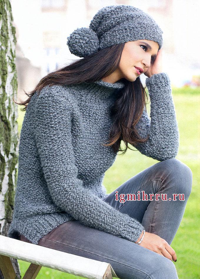 Серые будни или нет? Темно-серый пуловер и шапочка с помпоном, от Verena. Вязание спицами