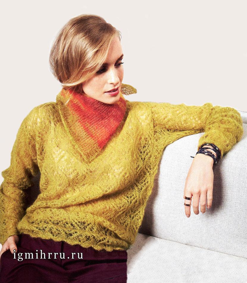 Ажурный мохеровый пуловер и шейный платок, от Lana Grossa. Вязание спицами