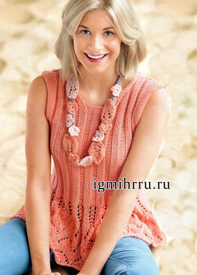 Нежно-розовый летний топ, украшенный оригинальным цветочным ожерельем. Вязание спицами