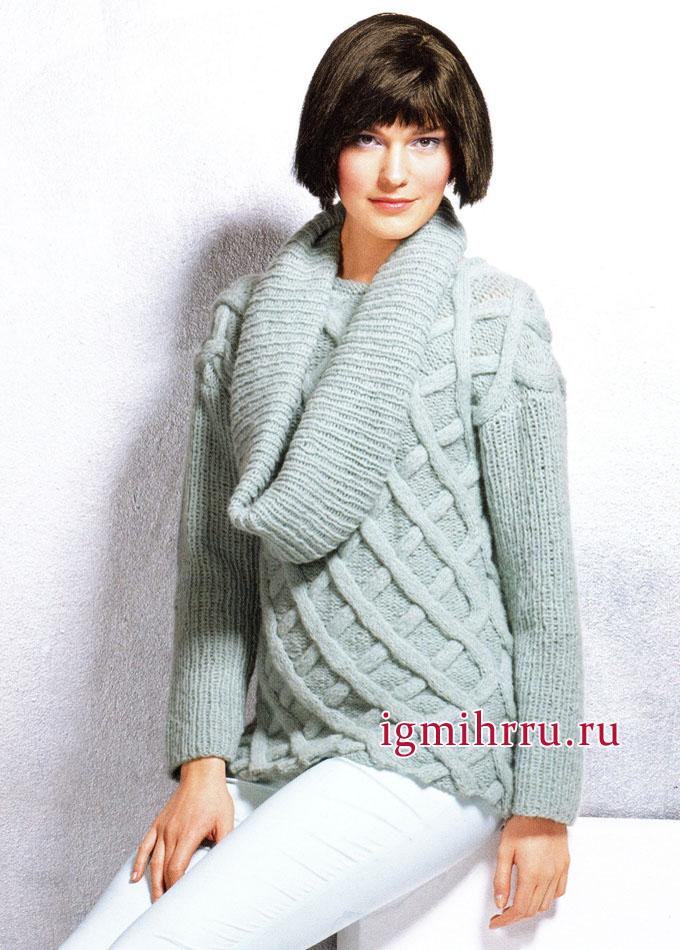 Пуловер цвета шалфея с косами и объемный снуд. Вязание спицами