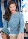 Для прохладных летних дней. Комплект голубого цвета из пуловера с ромбами и шапочки бини. Вязание спицами. Спицы