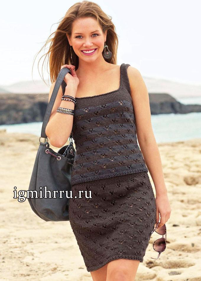 Модная классика: летний серо-коричневый топ и юбка. Вязание спицами