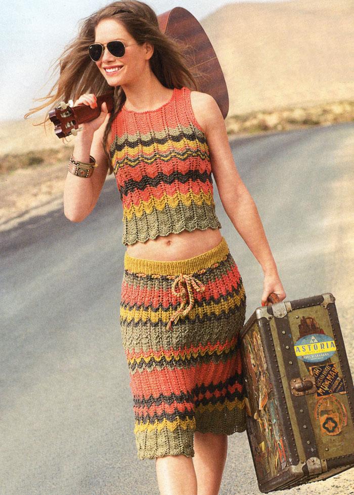 Отпускное настроение. Топ и юбка с зубчатыми полосами, от немецких дизайнеров. Вязание спицами