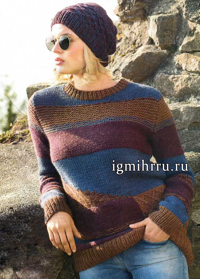 Шерстяной пуловер в технике интарсии и шапочка с узором из ромбов, от немецких дизайнеров. Вязание спицами