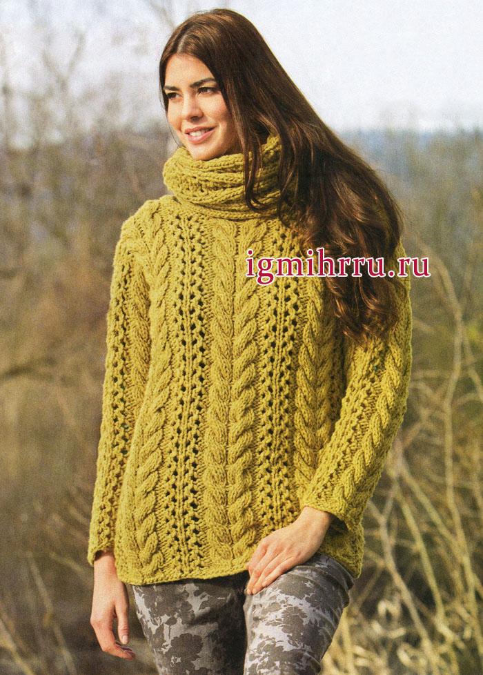 Теплый пуловер горчичного цвета с ажурным узором из кос, дополненный шарфом-петлей, от немецких дизайнеров. Вязание спицами
