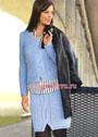 Комплект из голубой шерсти: юбка и пуловер с косами. Спицы