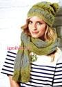 Теплый мягкий комплект: шапочка и шарф с волнистым ажурным узором. Спицы