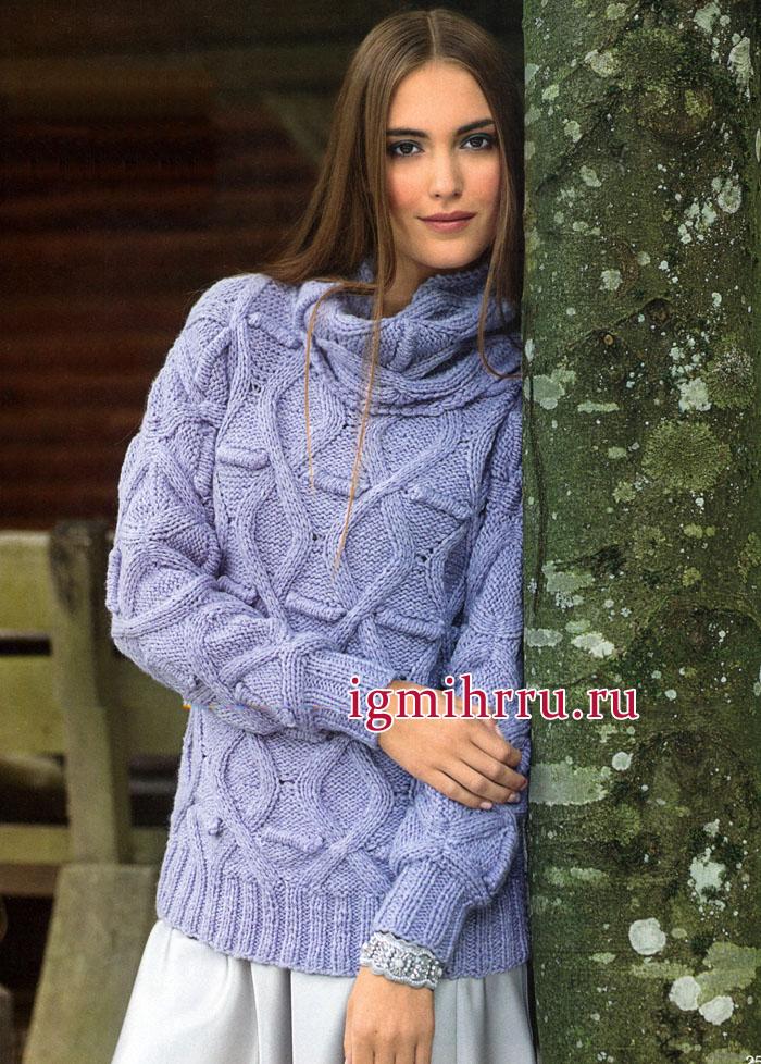 Теплый сиреневый пуловер с ромбами из кос и снуд, от немецких дизайнеров. Вязание спицами