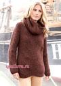 Коричневый пуловер с косами из английской резинки, дополненный шарфом-хомутом. Спицы