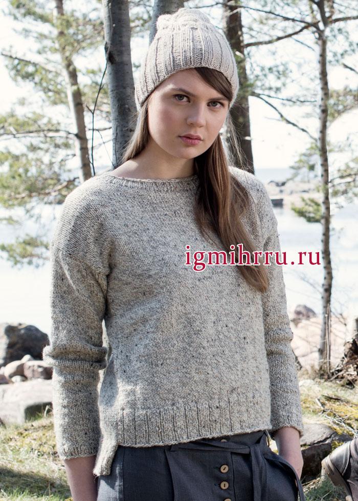 Осенний комплект: шерстяной меланжевый пуловер и теплая шапочка с косами, от финских дизайнеров. Вязание спицами
