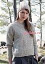 Осенний комплект: шерстяной меланжевый пуловер и теплая шапочка с косами. Спицы