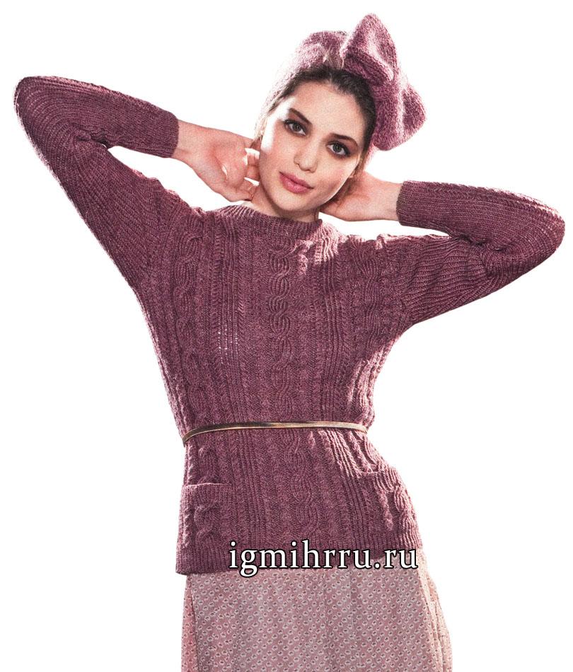 Бордовый шерстяной пуловер с косами и кокетливая повязка на голову, от французских дизайнеров. Вязание спицами
