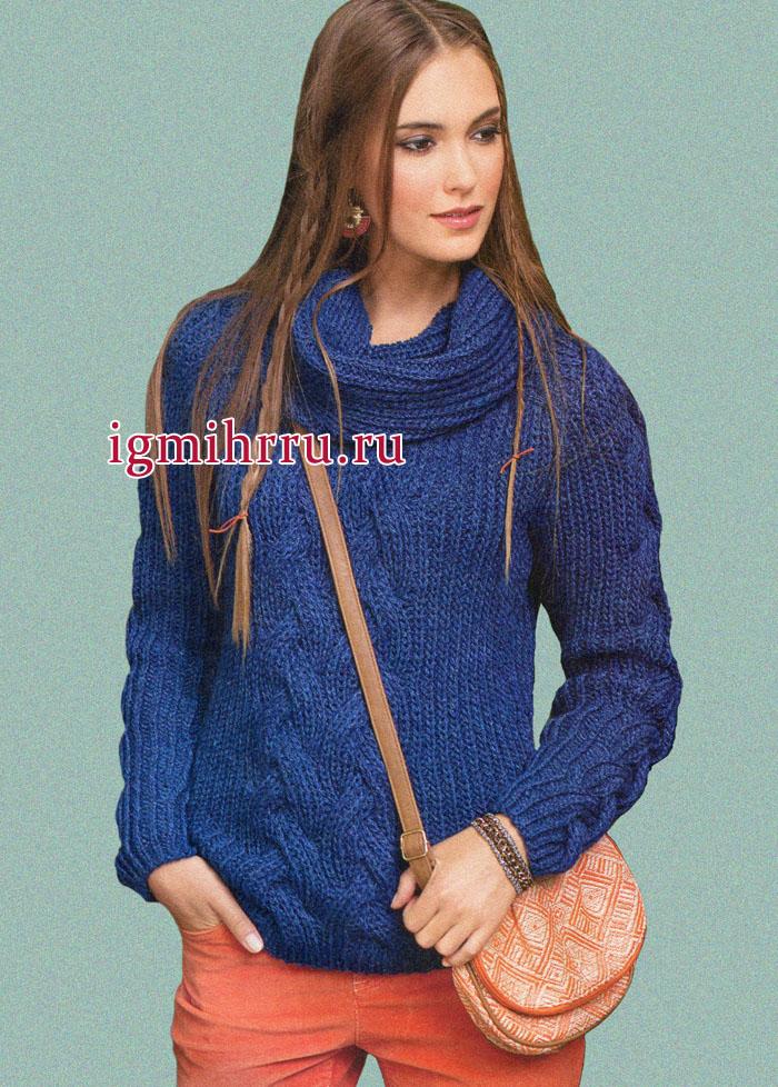 Практичный шерстяной пуловер с косами, дополненный снудом, от немецких дизайнеров. Вязание спицами