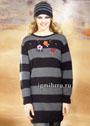Теплый и практичный комплект из мериносовой шерсти с добавлением альпаки: удлиненный полосатый пуловер с вышивкой и шапочка. Спицы