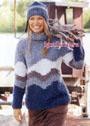Теплый, удобный и мягкий пуловер с жаккардовыми полосами, дополненный шапочкой. Спицы