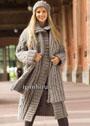 Теплый осенне-зимний комплект: бежевое пальто, шапочка и шарф с косами. Спицы