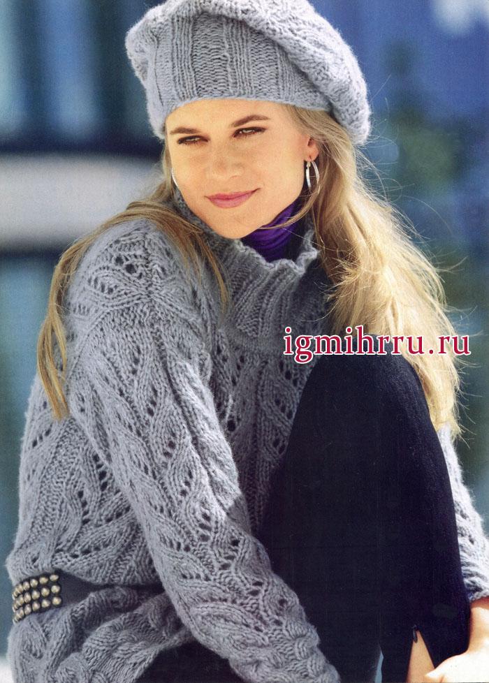 Серый пуловер с узором из листьев и шапочка с высоким ободком. Вязание спицами