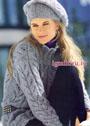 Серый пуловер с узором из листьев и шапочка с высоким ободком. Спицы