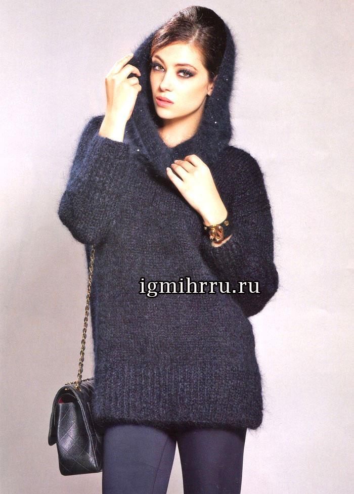 Роскошь черного цвета. Теплый пушистый пуловер из мягкой, чуть мерцающей пряжи, и снуд. Вязание спицами