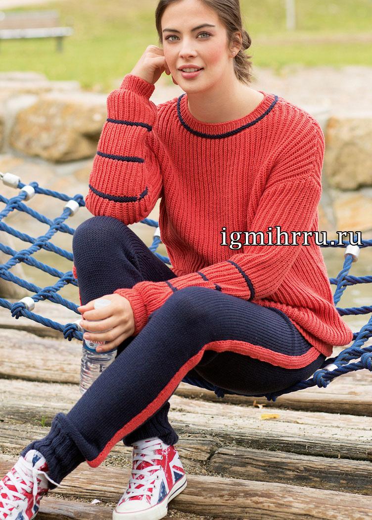 Удобный и практичный спортивный костюм: красный пуловер и синие брюки. Вязание спицами