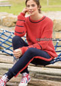 Удобный и практичный спортивный костюм: красный пуловер и синие брюки. Спицы