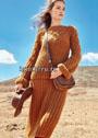 Комфортный шерстяной костюм цвета коньяка: пуловер и юбка. Спицы