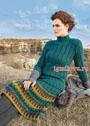 Костюм из свитера в резинку и юбки с узором из вытянутых петель. Спицы