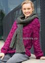 Выразительный теплый комплект: пуловер цвета фуксии и серый снуд-шарф. Спицы
