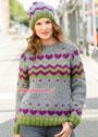 Теплый комплект с жаккардовыми узорами: пуловер-реглан и шапка. Спицы
