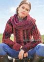 Теплый меланжевый пуловер, связанный поперек и дополненный снудом. Спицы