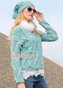 Теплый комплект мятно-голубого цвета: жакет и шапка с косами. Спицы