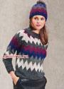 Комплект с жаккардовыми зигзагами: пуловер и шапочка. Спицы