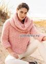 Розовый комплект из бахромчатой пряжи: пуловер и снуд. Спицы