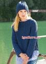 Темно-синий теплый комплект: пуловер и шапка с двойным патентным узором. Спицы