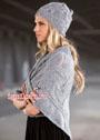 Женственный светло-серый комплект: шапочка и платок. Спицы