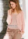 Женственный комплект розового цвета: жакет и топ. Спицы