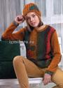 Комплект из пуловера и шапочки, украшенных вязаной аппликацией. Спицы