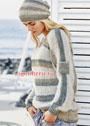 Комплект из хлопковой пряжи: пуловер и шапочка с полосками. Спицы