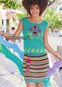 Летний нарядный комплект: топ и юбка с цветочными мотивами и полосками. Спицы
