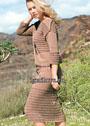 Летний коричневый костюм с ажурным узором: пуловер и юбка. Спицы
