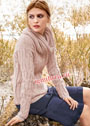Теплый женственный комплект цвета пудры: пуловер и снуд. Спицы