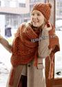 Коричневый комплект: шапочка с косами и шарф с зигзагами. Спицы